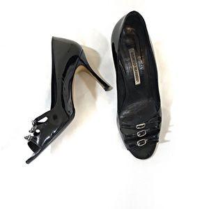 Manolo Blahnik Black Peep-toe Heels w/ Buckles
